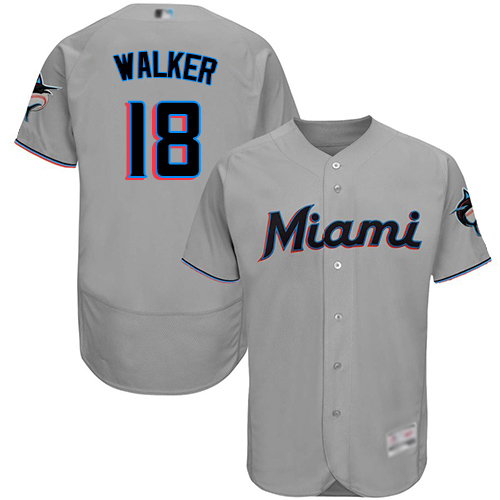 Marlins #18 Neil Walker Grey Flexbase Authentic Collection Stitched MLB Jersey