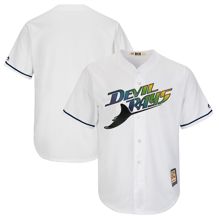Rays Blank Majestic Turn Back The Clock Home Cooperstown Collection Cool Base Team Jersey White