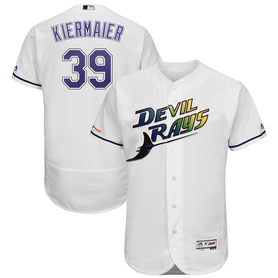 Rays #39 Kevin Kiermaier Majestic Turn Back The Clock Home Flex Base Authentic Collection Player Jersey White