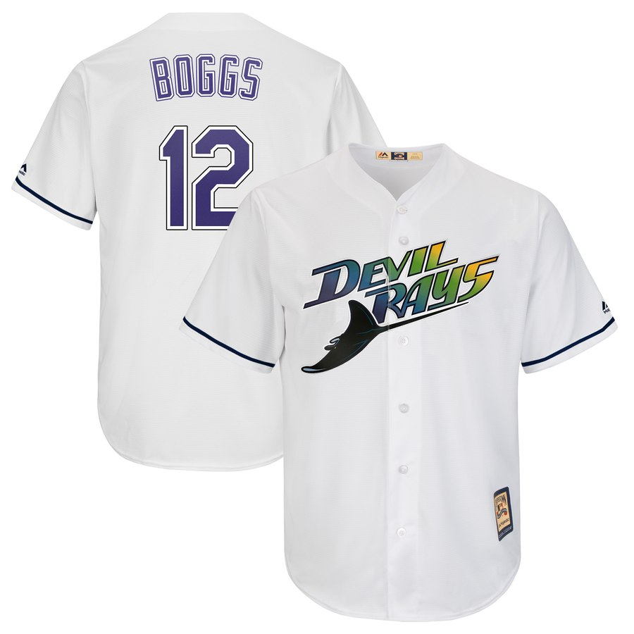 Rays #12 Wade Boggs Majestic Turn Back The Clock Home Cool Base Cooperstown Player Jersey White