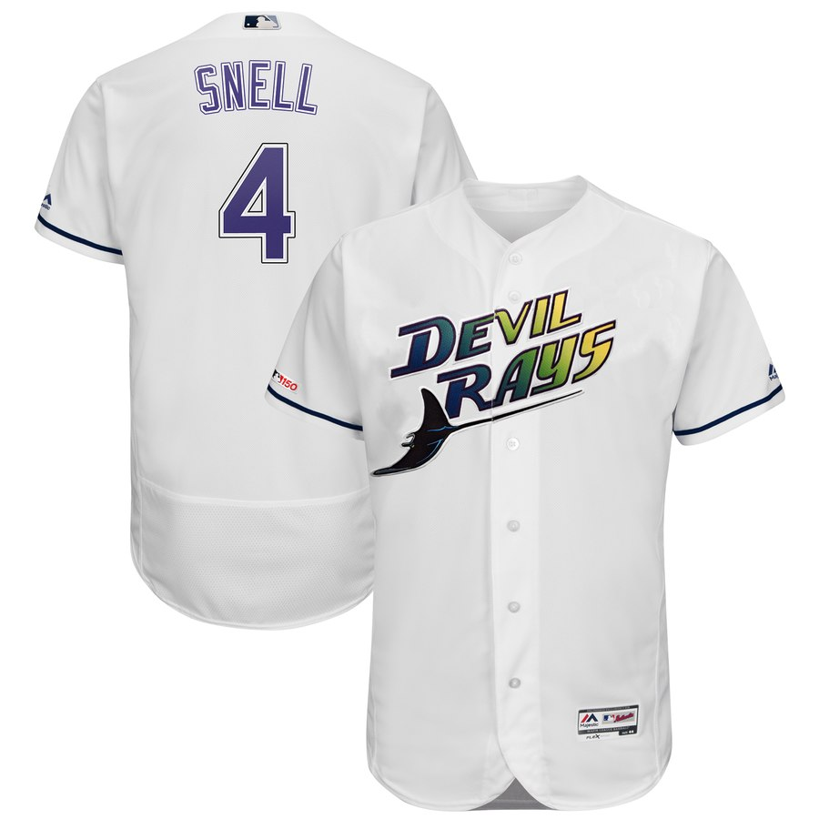 Rays #4 Blake Snell Majestic Turn Back The Clock Home Flex Base Authentic Collection Player Jersey White