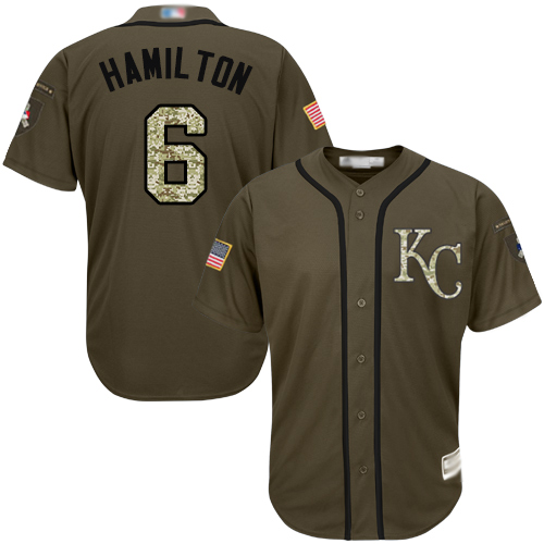 Royals #6 Billy Hamilton Green Salute to Service Stitched MLB Jersey