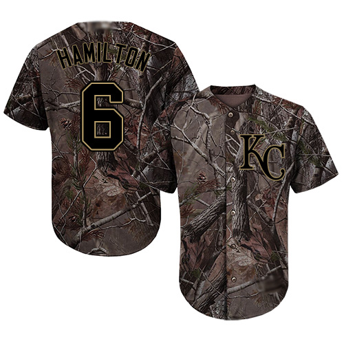 Royals #6 Billy Hamilton Camo Realtree Collection Cool Base Stitched MLB Jersey