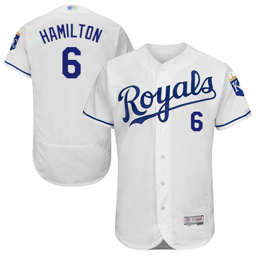 Royals #6 Billy Hamilton White Flexbase Authentic Collection Stitched MLB Jersey