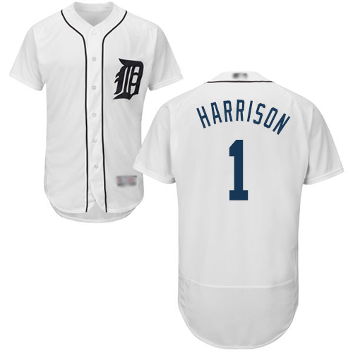 Tigers #1 Josh Harrison White Flexbase Authentic Collection Stitched MLB Jersey