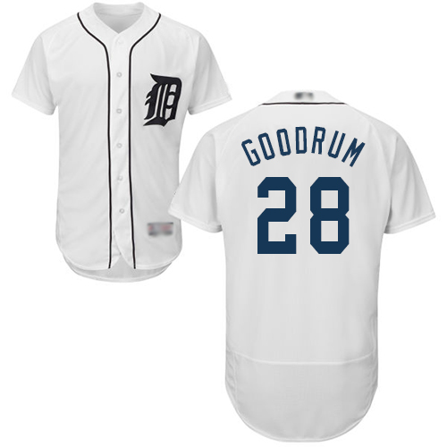 Tigers #28 Niko Goodrum White Flexbase Authentic Collection Stitched MLB Jersey