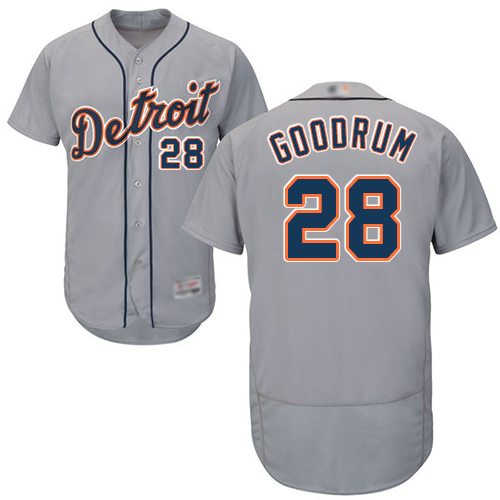 Tigers #28 Niko Goodrum Grey Flexbase Authentic Collection Stitched MLB Jersey
