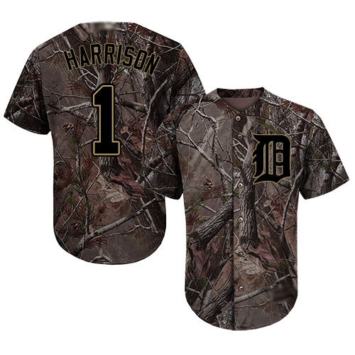Tigers #1 Josh Harrison Camo Realtree Collection Cool Base Stitched MLB Jersey