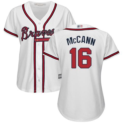 Braves #16 Brian McCann White Home Women's Stitched MLB Jersey