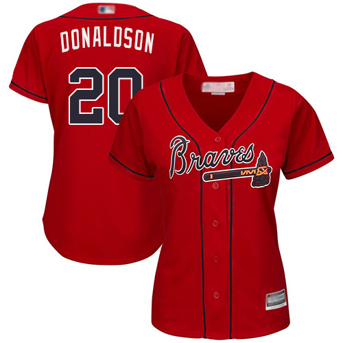 Braves #20 Josh Donaldson Red Alternate Women's Stitched MLB Jersey