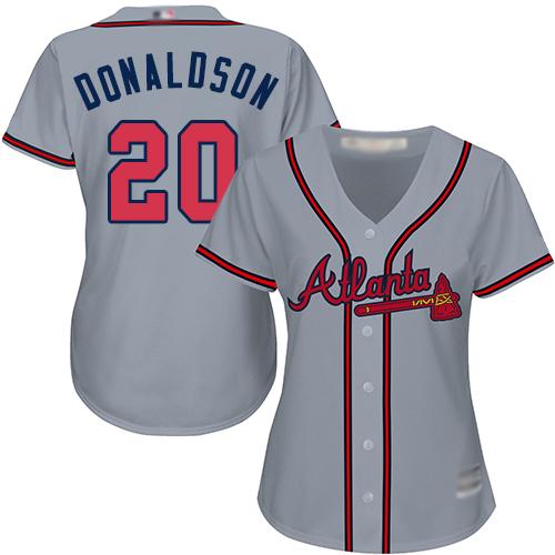 Braves #20 Josh Donaldson Grey Road Women's Stitched MLB Jersey