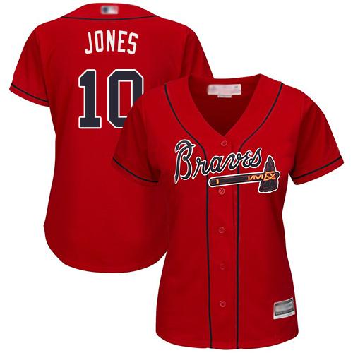 Braves #10 Chipper Jones Red Alternate Women's Stitched MLB Jersey