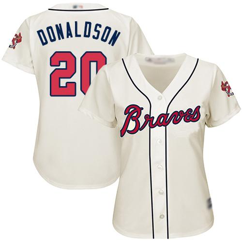 Braves #20 Josh Donaldson Cream Alternate Women's Stitched MLB Jersey