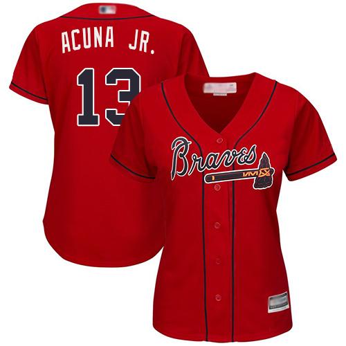 Braves #13 Ronald Acuna Jr. Red Alternate Women's Stitched MLB Jersey