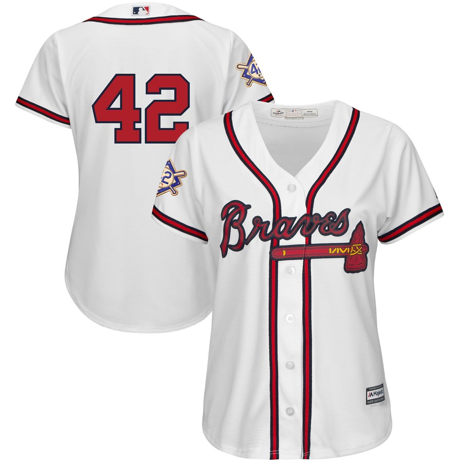 Braves #42 Majestic Women's 2019 Jackie Robinson Day Official Cool Base Jersey White