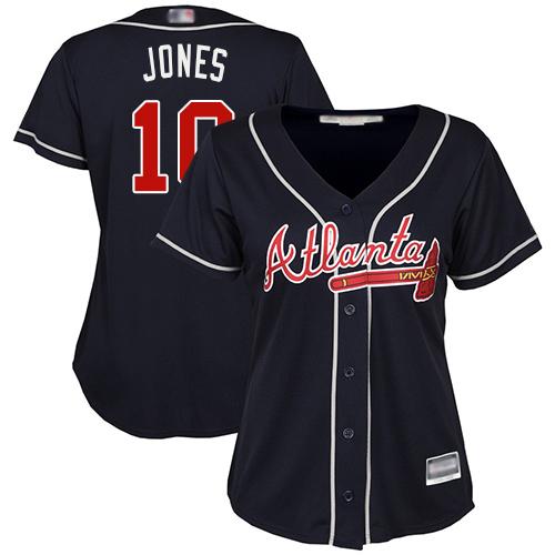 Braves #10 Chipper Jones Navy Blue Alternate Women's Stitched MLB Jersey