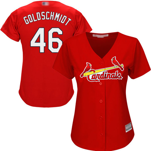 Cardinals #46 Paul Goldschmidt Red Alternate Women's Stitched MLB Jersey