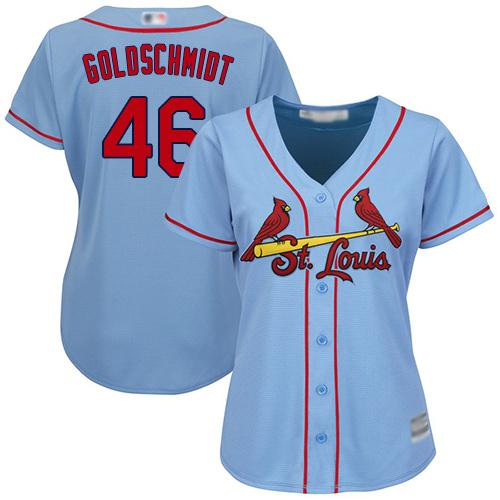 Cardinals #46 Paul Goldschmidt Light Blue Alternate Women's Stitched MLB Jersey