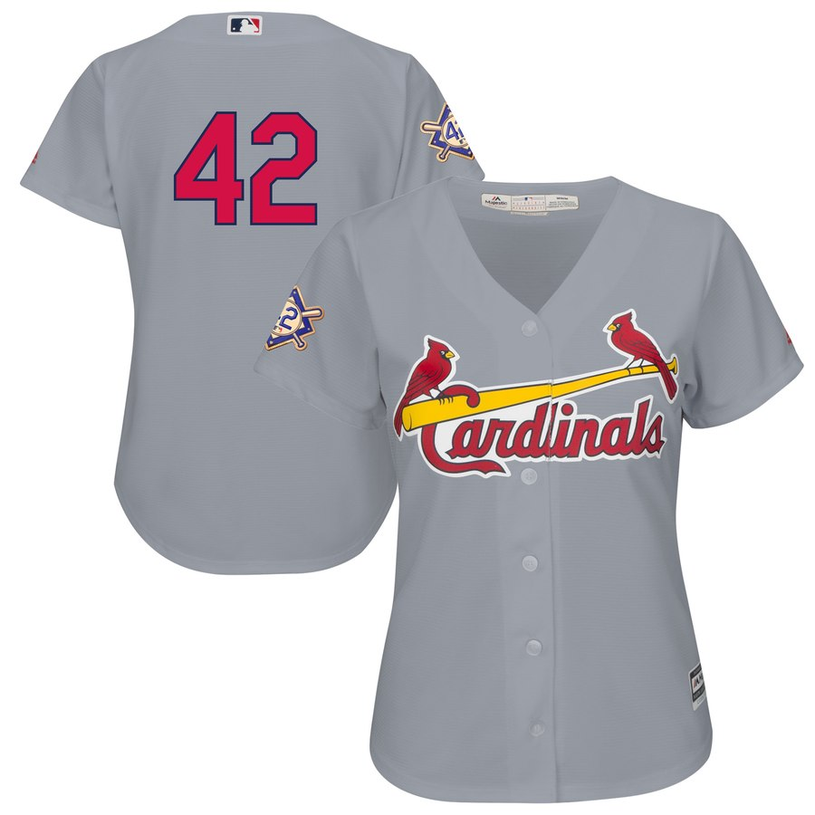 Cardinals #42 Majestic Women's 2019 Jackie Robinson Day Official Cool Base Jersey Gray