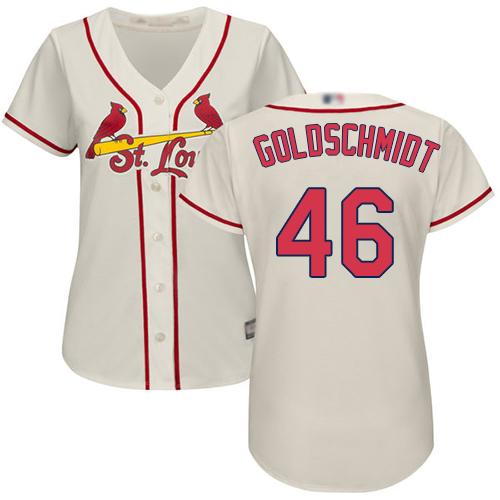 Cardinals #46 Paul Goldschmidt Cream Alternate Women's Stitched MLB Jersey