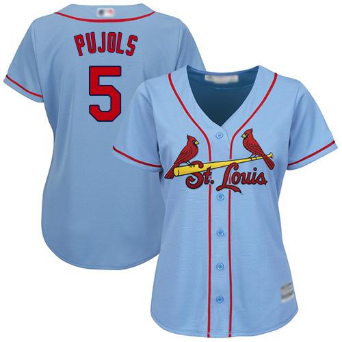 Cardinals #5 Albert Pujols Light Blue Alternate Women's Stitched MLB Jersey
