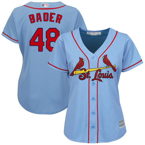 Cardinals #48 Harrison Bader Light Blue Alternate Women's Stitched MLB Jersey