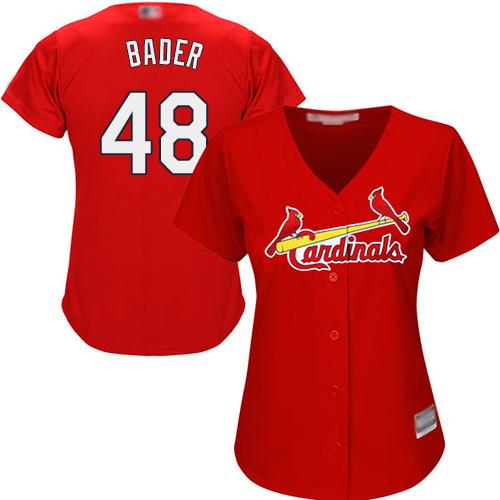 Cardinals #48 Harrison Bader Red Alternate Women's Stitched MLB Jersey