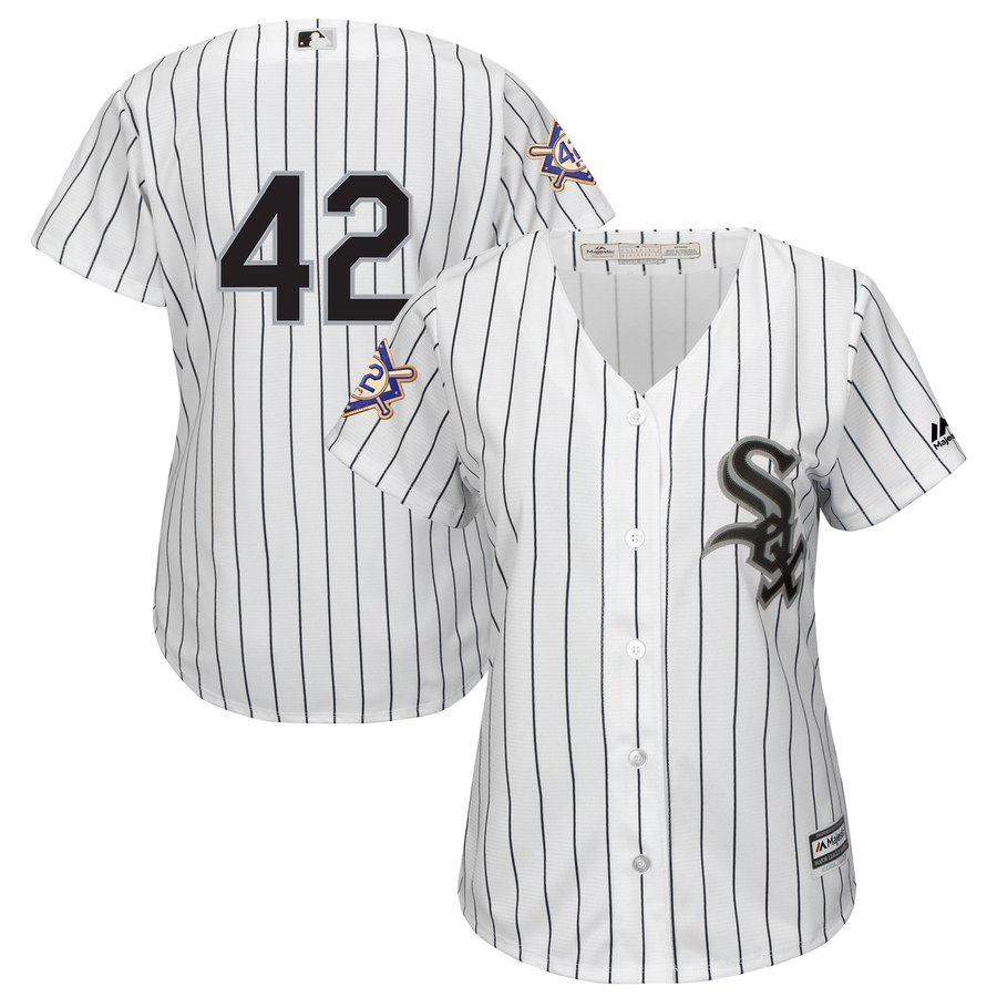 Chicago White Sox #42 Majestic Women's 2019 Jackie Robinson Day Official Cool Base Jersey White