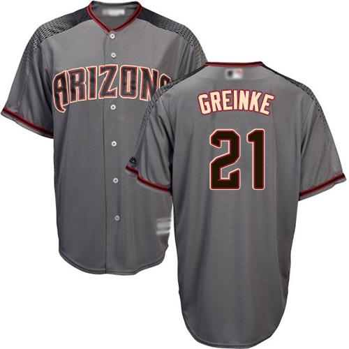 Diamondbacks #21 Zack Greinke Gray Road Women's Stitched MLB Jersey
