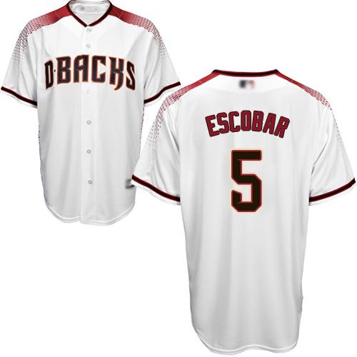 Diamondbacks #5 Eduardo Escobar White Crimson Home Women's Stitched MLB Jersey