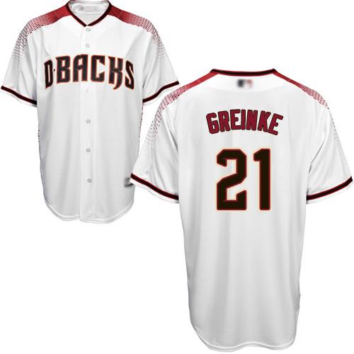 Diamondbacks #21 Zack Greinke White Crimson Home Women's Stitched MLB Jersey