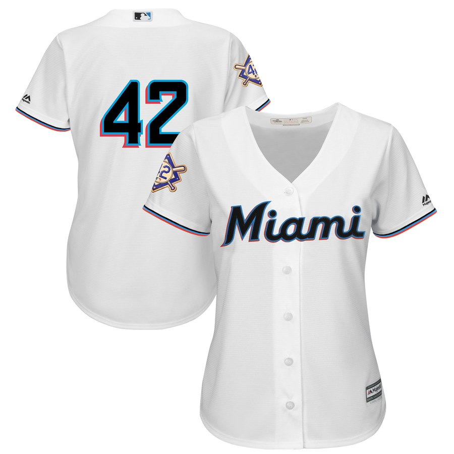 Marlins #42 Majestic Women's 2019 Jackie Robinson Day Official Cool Base Jersey White