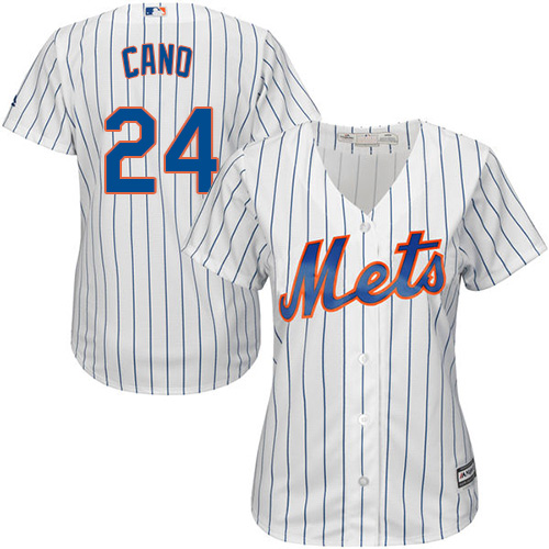 Mets #24 Robinson Cano White(Blue Strip) Women's Home Stitched MLB Jersey