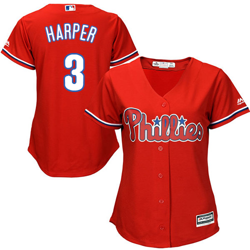 Phillies #3 Bryce Harper Red Alternate Women's Stitched MLB Jersey