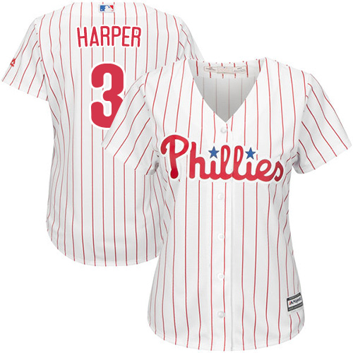 Phillies #3 Bryce Harper White(Red Strip) Home Women's Stitched MLB Jersey