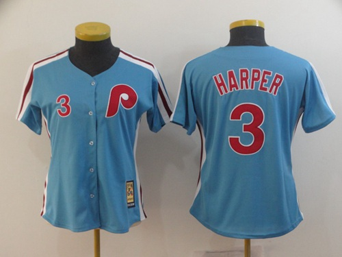 Phillies #3 Bryce Harper Light Blue Alternate Cooperstown Women's Stitched MLB Jersey