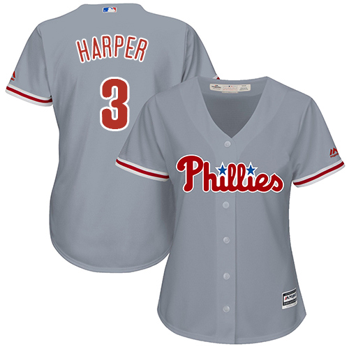 Phillies #3 Bryce Harper Grey Road Women's Stitched MLB Jersey