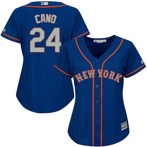 Mets #24 Robinson Cano Blue(Grey NO.) Alternate Women's Stitched MLB Jersey