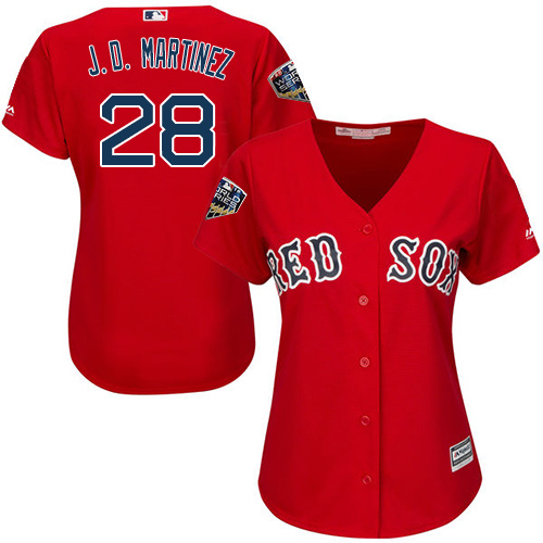 Red Sox #28 J. D. Martinez Red Alternate 2018 World Series Women's Stitched MLB Jersey