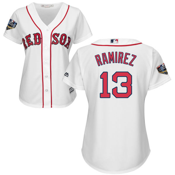 Red Sox #13 Hanley Ramirez White Home 2018 World Series Women's Stitched MLB Jersey