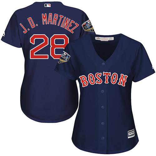 Red Sox #28 J. D. Martinez Navy Blue Alternate 2018 World Series Women's Stitched MLB Jersey