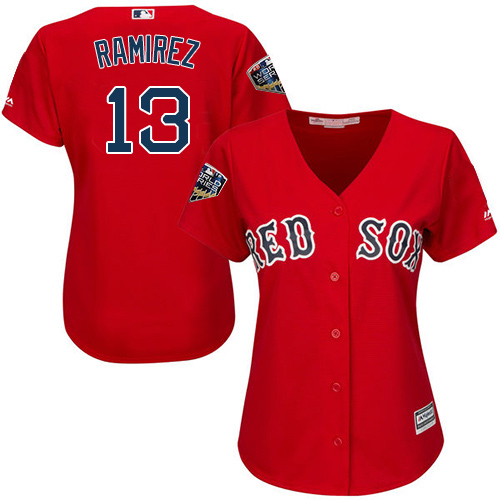 Red Sox #13 Hanley Ramirez Red Alternate 2018 World Series Women's Stitched MLB Jersey