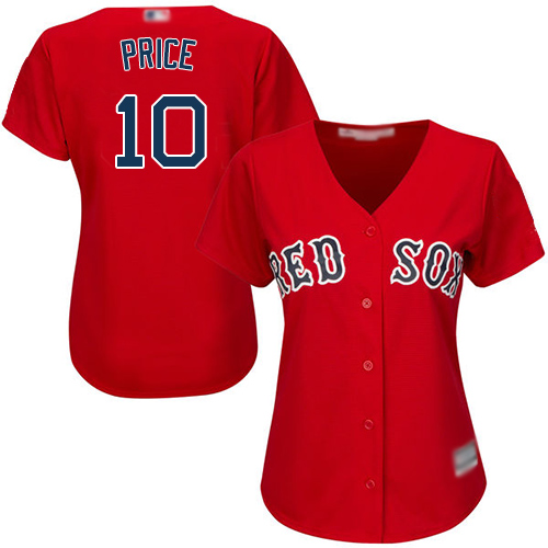 Red Sox #10 David Price Red Alternate Women's Stitched MLB Jersey