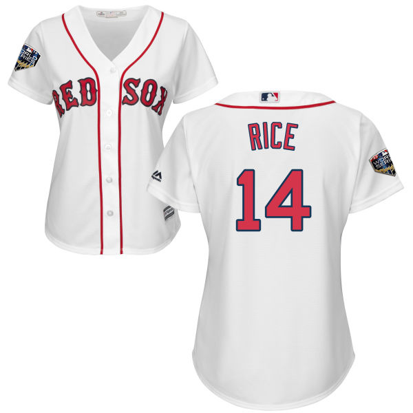 Red Sox #14 Jim Rice White Home 2018 World Series Women's Stitched MLB Jersey