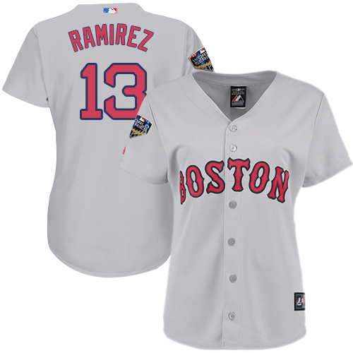 Red Sox #13 Hanley Ramirez Grey Road 2018 World Series Women's Stitched MLB Jersey