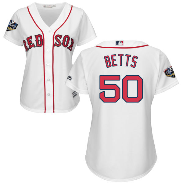Red Sox #50 Mookie Betts White Home 2018 World Series Women's Stitched MLB Jersey