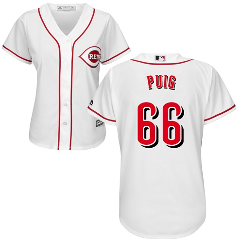 Reds #66 Yasiel Puig White Home Women's Stitched MLB Jersey