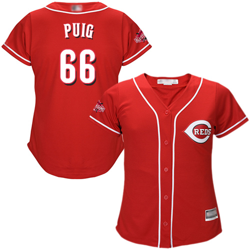 Reds #66 Yasiel Puig Red Alternate Women's Stitched MLB Jersey