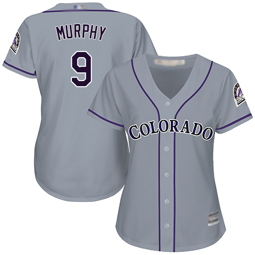 Rockies #9 Daniel Murphy Grey Road Women's Stitched MLB Jersey