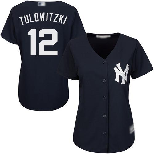 Yankees #12 Troy Tulowitzki Navy Blue Alternate Women's Stitched MLB Jersey